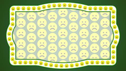 Sad smile emotion green background vintage frame Animation