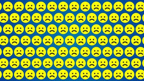Sad smile emotion blue background traffic horisontal Animation