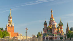 Moscow city skyline timelapse at Red Square and Saint Basil 's Catherdral, Footage