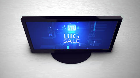 Computer monitor with the inscription Big Sale. Big sale, hot sale, best price Animation