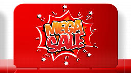 Sales promotional animation video with the inscription Mega Sale. Big sale, hot Animation