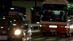 ROPPONGI, TOKYO, JAPAN - CIRCA JUNE 2018 : TAXI and CAR passing at night time ビデオ