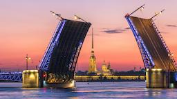 Saint Petersburg city skyline night timelapse at Palace Bridge, Saint Petersburg Footage