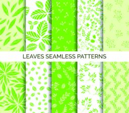 Green leaves seamless pattern. Set of vector backgrounds, fabric print Vector