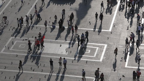 People walking in Duomo square seen from the Milan Cathedral Footage