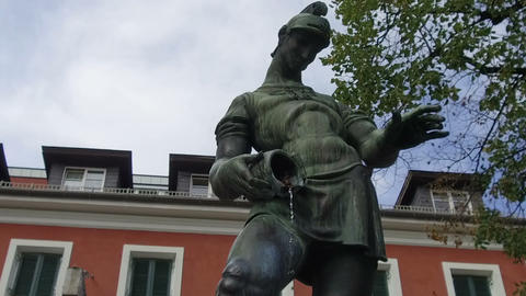 fountain dedicated to San Floriano in the town of Lienz, Austria ビデオ