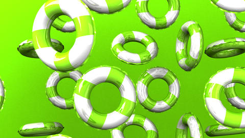 Green swim rings on green background Stock Video Footage