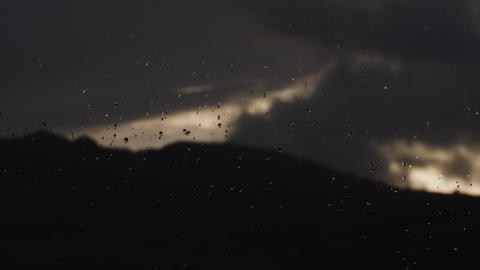 Close up image of rain drops falling on a window Footage