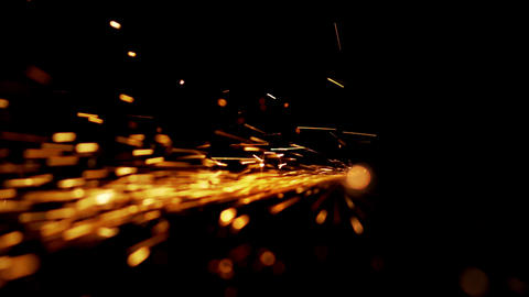 Abstract shape of splashing sparklets like comet tail straight to perspective Live Action