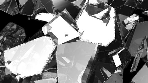 Pieces of Shattered glass in slow motion. Alpha matte, 3d... Stock Video Footage