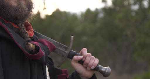 A man in the woods with a sword on his shoulder looks at you Live Action