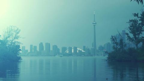 Toronto Skyline from the lake Footage