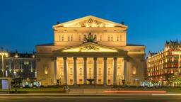 Moscow city skyline night timelapse at The Bolshoi Theatre, Moscow Russia 4K Footage