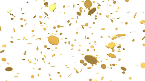 Animation of Falling Golden Coins on white background Animation