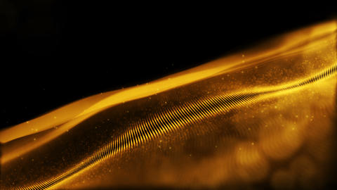 Abstract sparkling gold color particles wave form cyber technology Motion Animation