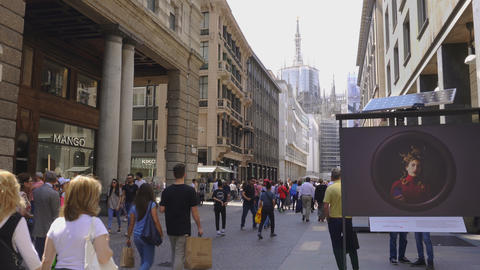 Milan, Italy Corso Vittorio Emanuele II street with crowd GIF