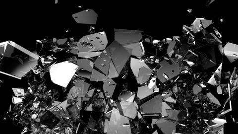 Broken and damaged glass slow motion Alpha matte Animation