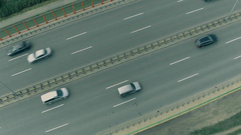 Aerial top down view of cars driving along the highway Footage