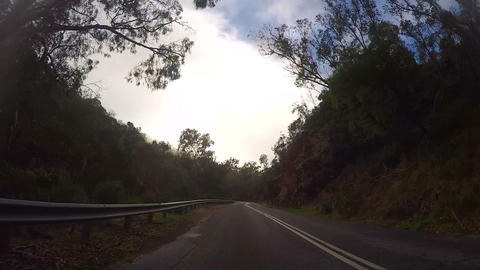 Vehicle POV Mountain Road, through early morning mist, time lapse Footage