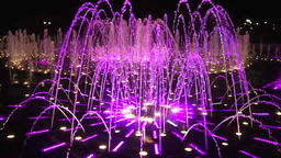 Slow motion bright colorful dancing fountains in Moscow at night Footage