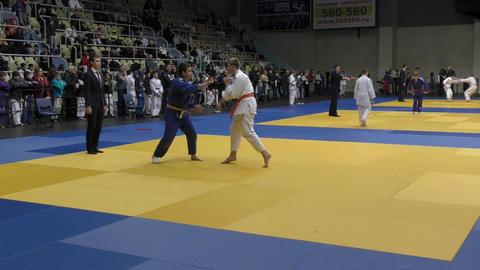 Orenburg, Russia – 5 February 2016: boys compete in judo Live Action