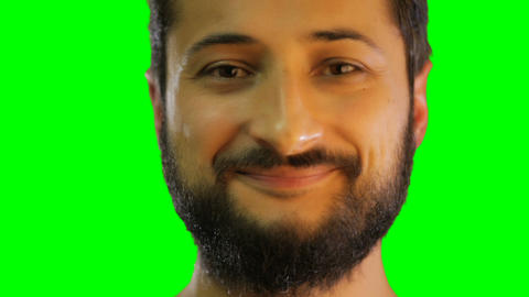 face of man smile on the green screen Live Action
