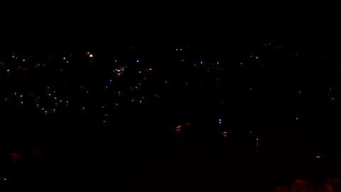 Orta lake at night with suggestive reflections of night lights boats Live Action