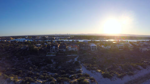 Early morning aerial view of South Australian beach and sunrise over coast Footage