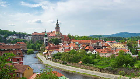 Time Lapse of Cesky Krumlov city skyline in Cesky Krumlov, Czech Republic Footage