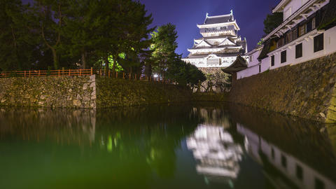 Time lapse video of Kokura Castle in Kitakyushu at night in Kokura, Japan, Live Action