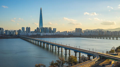 Timelapse video of Seoul city skyline in Seoul, South Korea, Time Lapse 4K Live Action