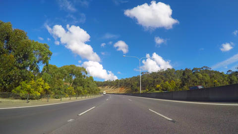 4K vehicle POV driving along freeway, from Adelaide to Adeliade Hills turnoff, Footage