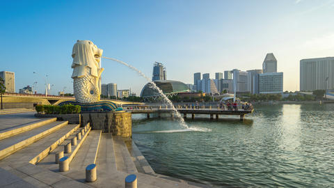 Timelapse of Singapore city skyline in Singapore, Time Lapse 4K Footage