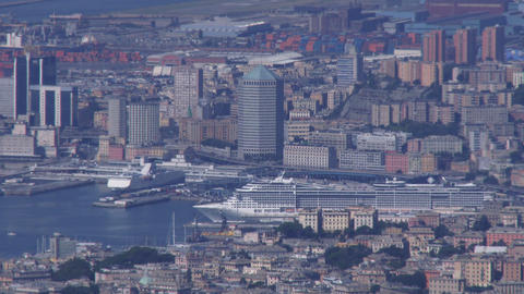 View of the port of Genoa, Italy Live Action