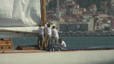 old sail crew 01 e Stock Video Footage
