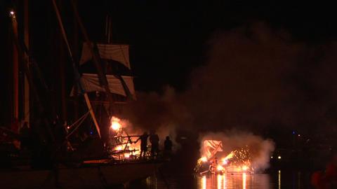 pirates landing 02 Stock Video Footage
