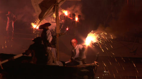 pirates landing 06 e Stock Video Footage
