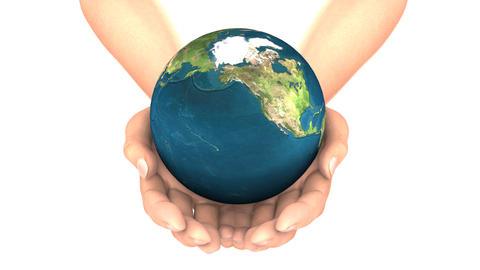 EARTH in HANDS LOOP Stock Video Footage