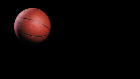 Basketball, jumping on black background, loop Animation