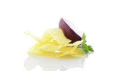 Potato chips and onion Stock Video Footage