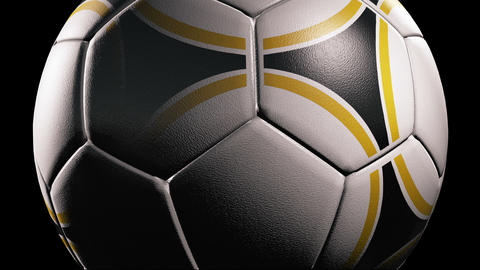 Soccer ball, Rotation on black background, loop Stock Video Footage