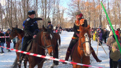 Cossacks on horses Stock Video Footage