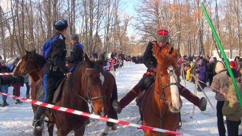 Cossacks on horses Footage