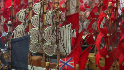 Breadboard models of ships, toys, souvenirs Stock Video Footage