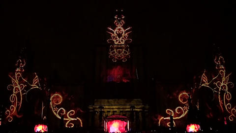 Laser show on the building of the Moscow university Stock Video Footage