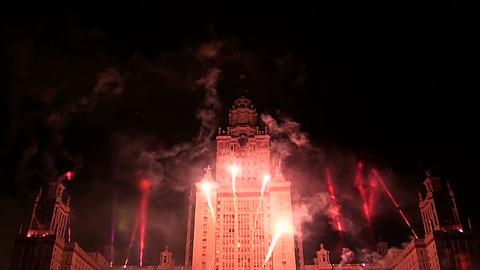 Fireworks over Moscow university Stock Video Footage