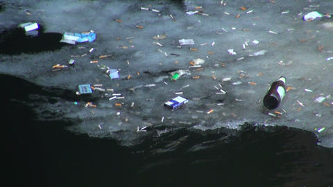 Debris and dirt on the water Stock Video Footage