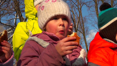 girl on a holiday in park Stock Video Footage