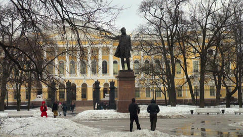 People walk near the monument To Pushkin Footage