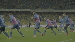 Football team warming up before the match Footage
